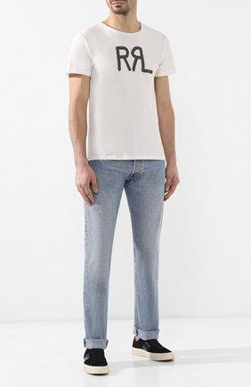 Мужская хлопковая футболка с принтом RRL кремвого цвета, арт. 782658264 | Фото 2