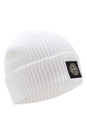 Мужская хлопковая шапка STONE ISLAND белого цвета, арт. 7015N01B3 | Фото 1
