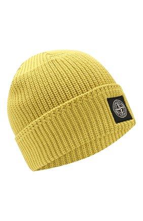 Мужская хлопковая шапка STONE ISLAND желтого цвета, арт. 7015N01B3 | Фото 1