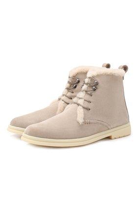 Женские замшевые ботинки ylvi walk LORO PIANA светло-бежевого цвета, арт. FAF9366 | Фото 1