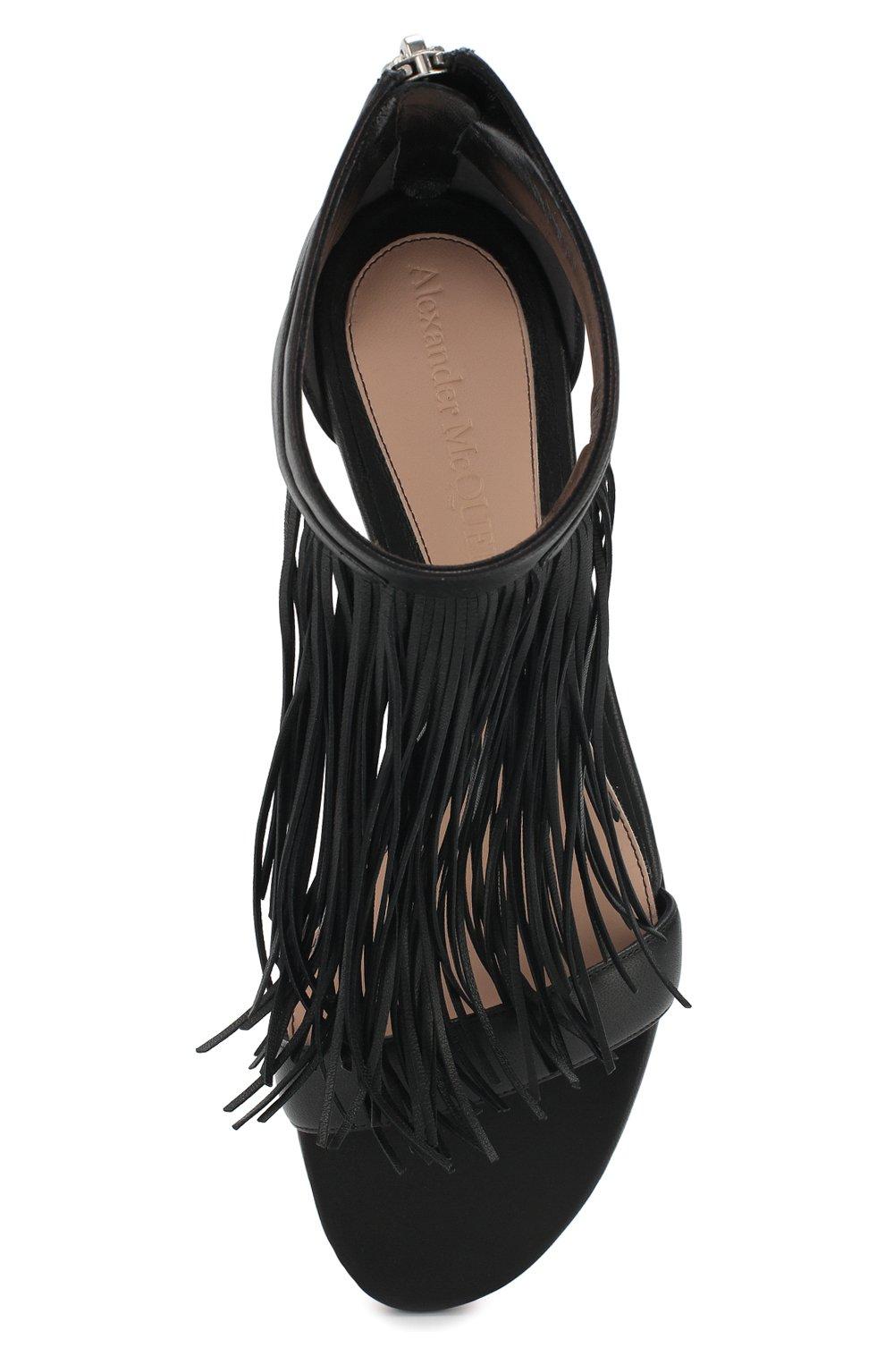 Кожаные сандалии Alexander McQueen черные | Фото №5