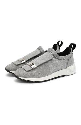 Женские кожаные кроссовки с глиттером SERGIO ROSSI серебряного цвета, арт. A80840-MFN420 | Фото 1