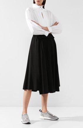Женские кожаные кроссовки с глиттером SERGIO ROSSI серебряного цвета, арт. A80840-MFN420 | Фото 2