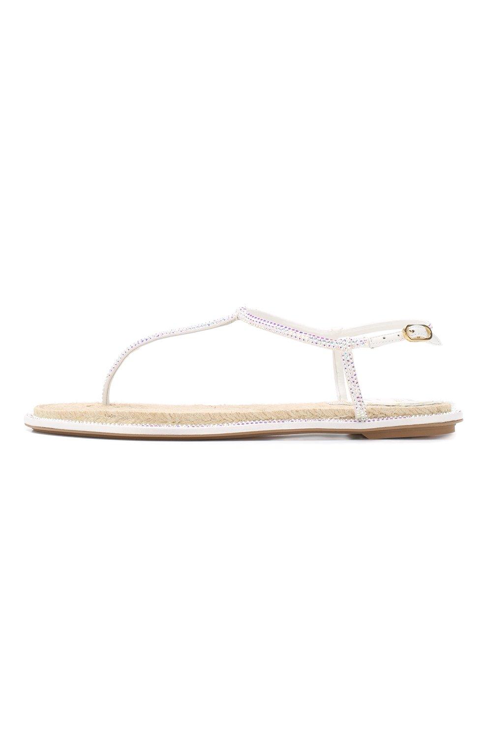 Кожаные сандалии Diana Rene Caovilla белые | Фото №3