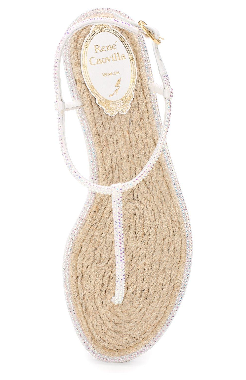 Кожаные сандалии Diana Rene Caovilla белые | Фото №5