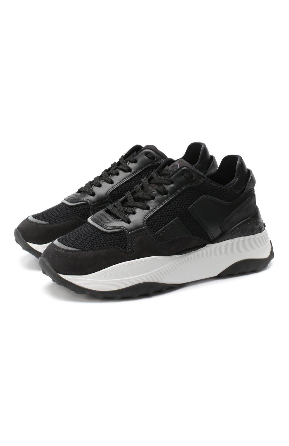 Комбинированные кроссовки Tod's черные   Фото №1