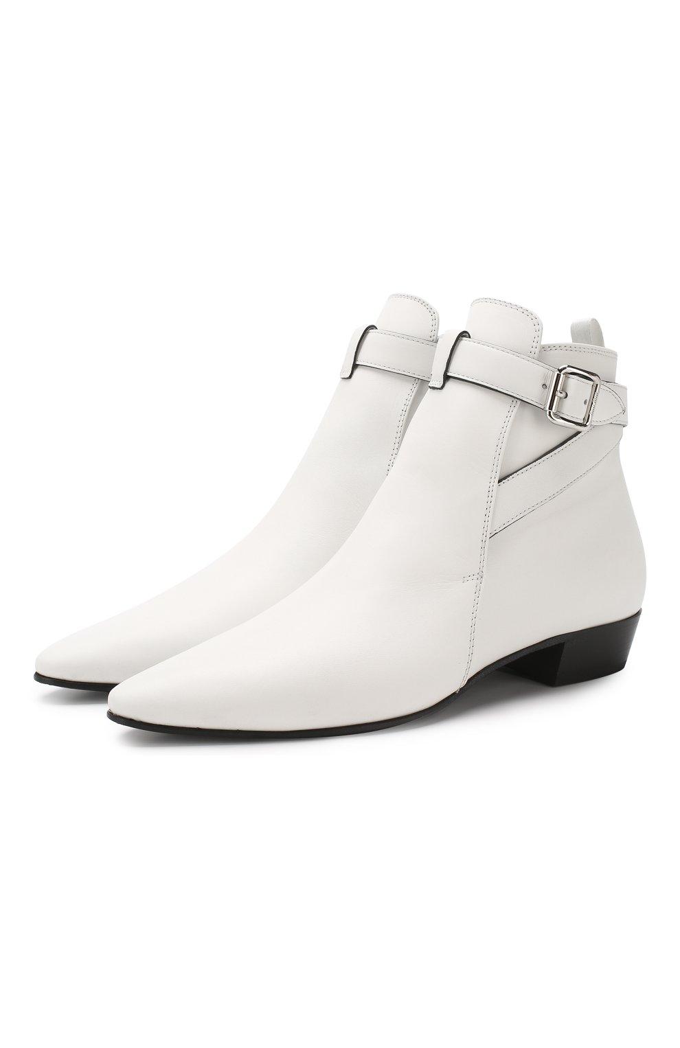 Кожаные ботинки Miu Miu белые | Фото №1