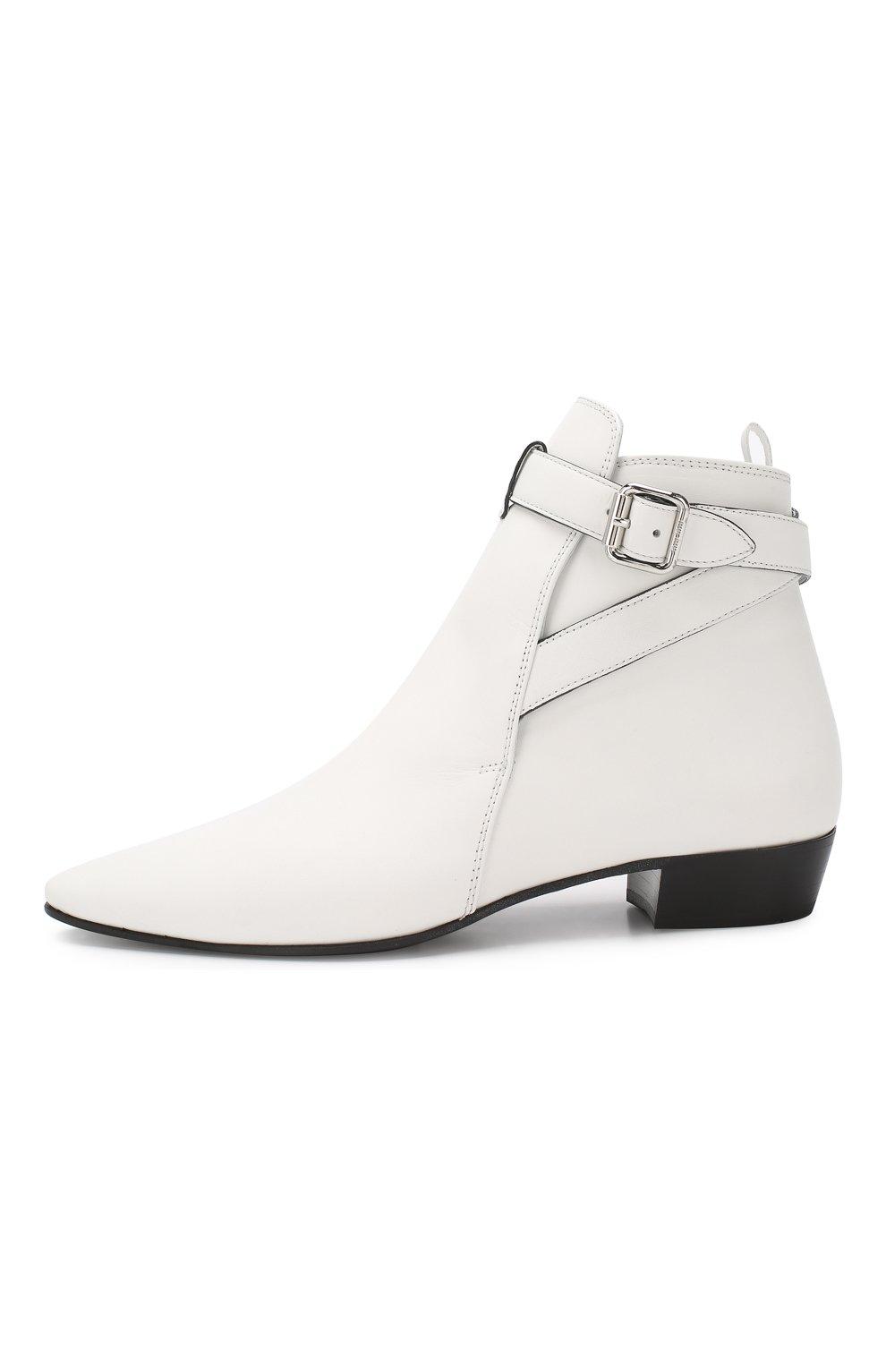 Кожаные ботинки Miu Miu белые | Фото №3