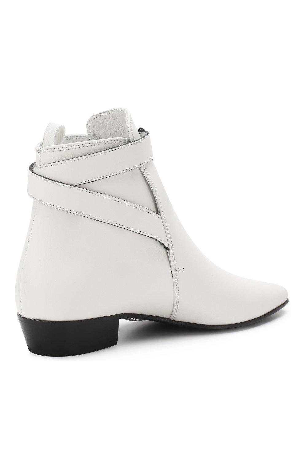 Кожаные ботинки Miu Miu белые | Фото №4