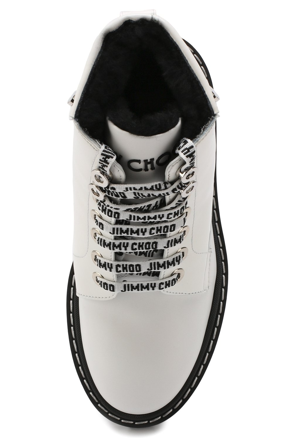 Кожаные ботинки Snow  Jimmy Choo черно-белые | Фото №5