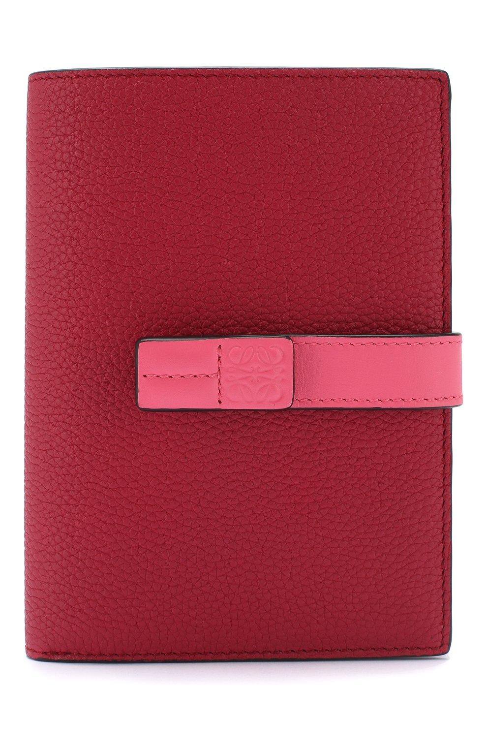 Кожаный кошелек с отделениями для кредитных карт Loewe малинового цвета | Фото №1