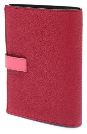 Кожаный кошелек с отделениями для кредитных карт Loewe малинового цвета | Фото №2