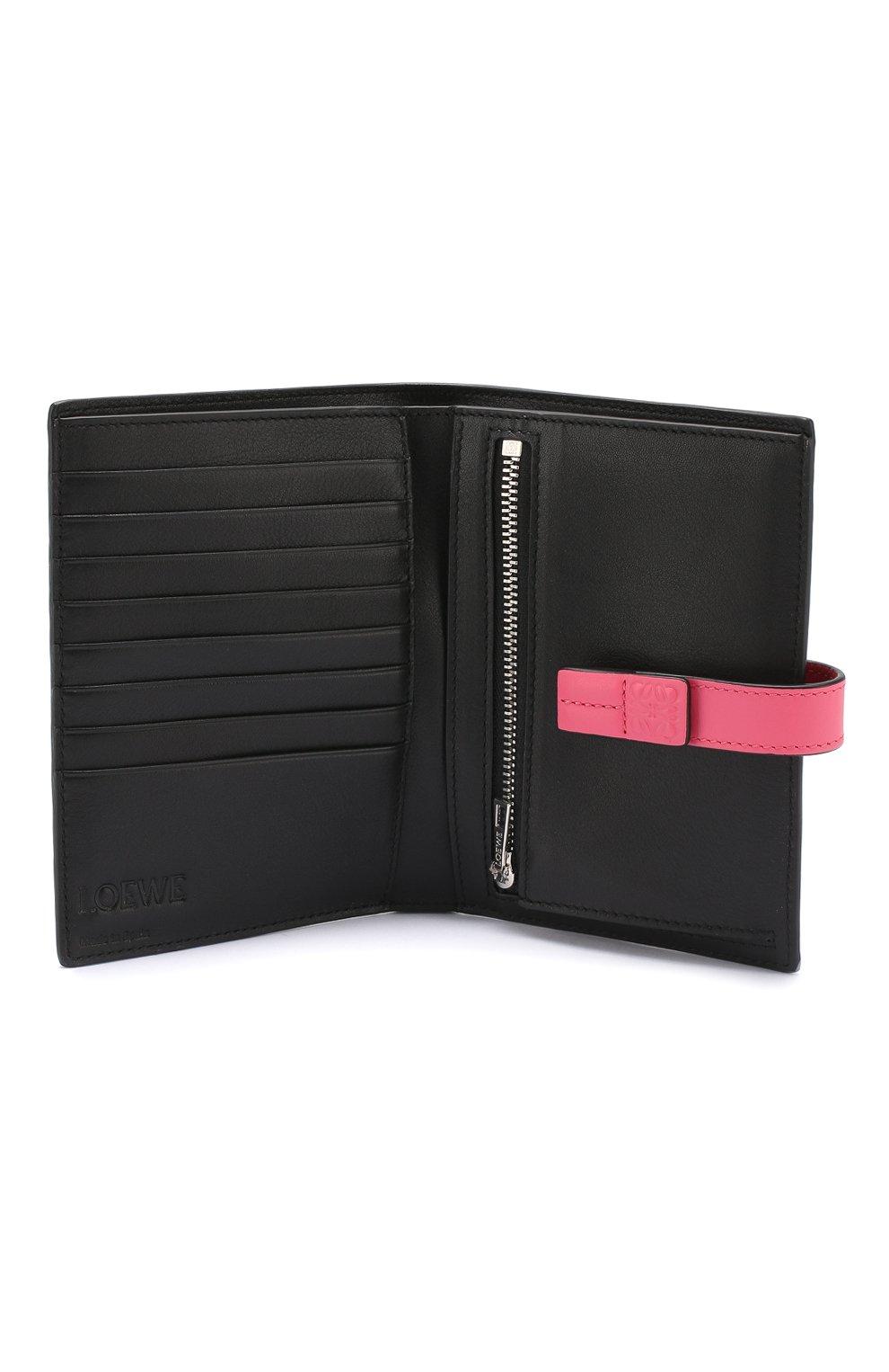 Кожаный кошелек с отделениями для кредитных карт Loewe малинового цвета | Фото №3