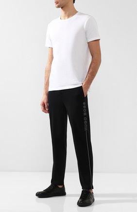 Мужские хлопковые домашние брюки BOSS черного цвета, арт. 50397051   Фото 2