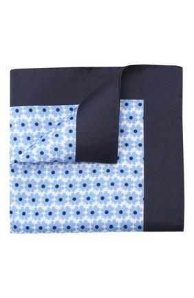 Мужской шелковый платок BOSS голубого цвета, арт. 50406614 | Фото 1