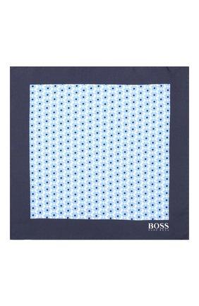 Мужской шелковый платок BOSS голубого цвета, арт. 50406614 | Фото 3