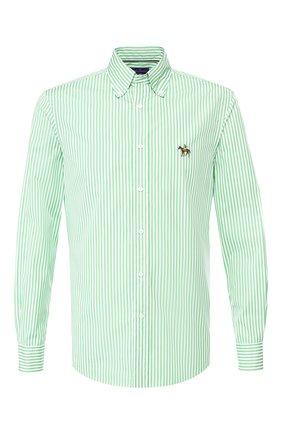 Мужская хлопковая сорочка с воротником button down RALPH LAUREN зеленого цвета, арт. 790730896 | Фото 1