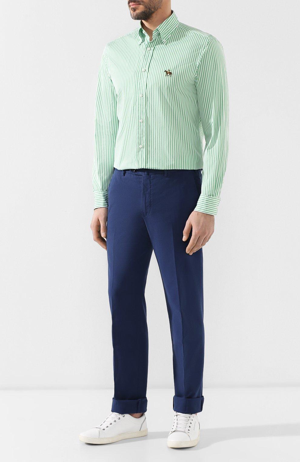 Мужская хлопковая сорочка с воротником button down RALPH LAUREN зеленого цвета, арт. 790730896 | Фото 2