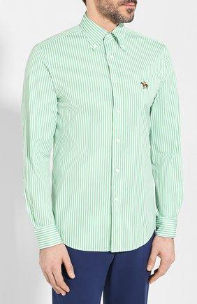 Мужская хлопковая сорочка с воротником button down RALPH LAUREN зеленого цвета, арт. 790730896 | Фото 3