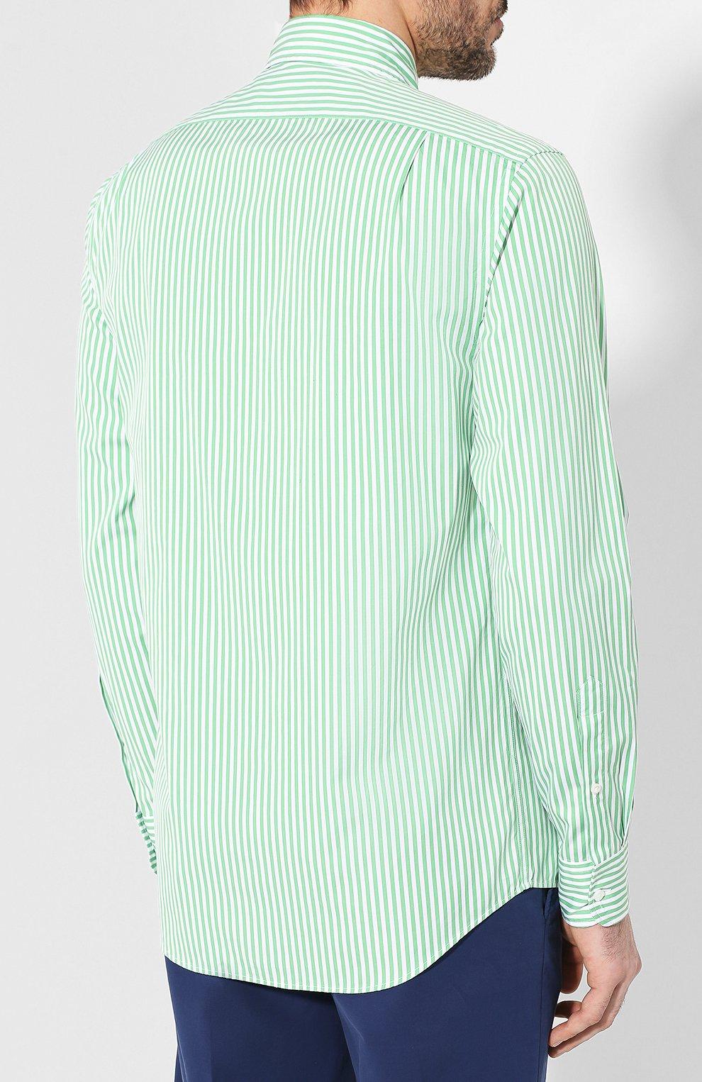 Мужская хлопковая сорочка с воротником button down RALPH LAUREN зеленого цвета, арт. 790730896 | Фото 4