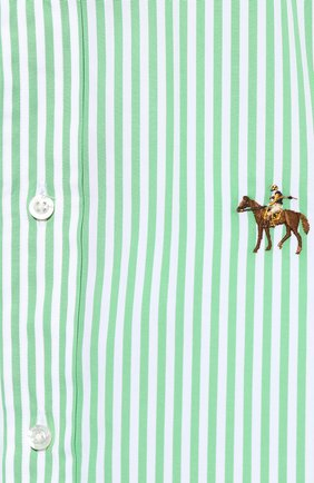 Мужская хлопковая сорочка с воротником button down RALPH LAUREN зеленого цвета, арт. 790730896 | Фото 5