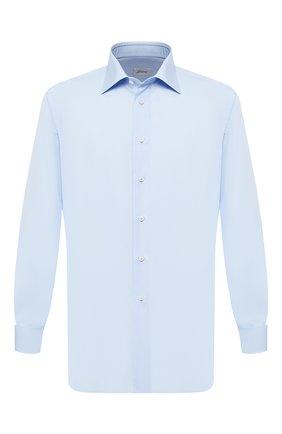 Мужская хлопковая сорочка с воротником кент BRIONI голубого цвета, арт. RCLU30/PZ016 | Фото 1