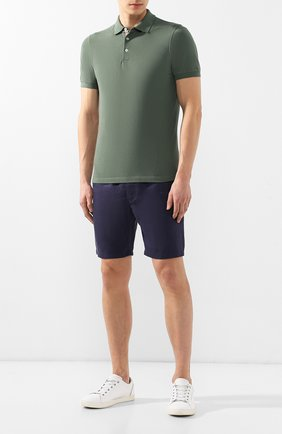 Мужское хлопковое поло BRUNELLO CUCINELLI зеленого цвета, арт. M0T638307 | Фото 2
