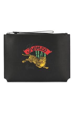 Мужская кожаный клатч jumping tiger KENZO черного цвета, арт. 5PM702L42 | Фото 1