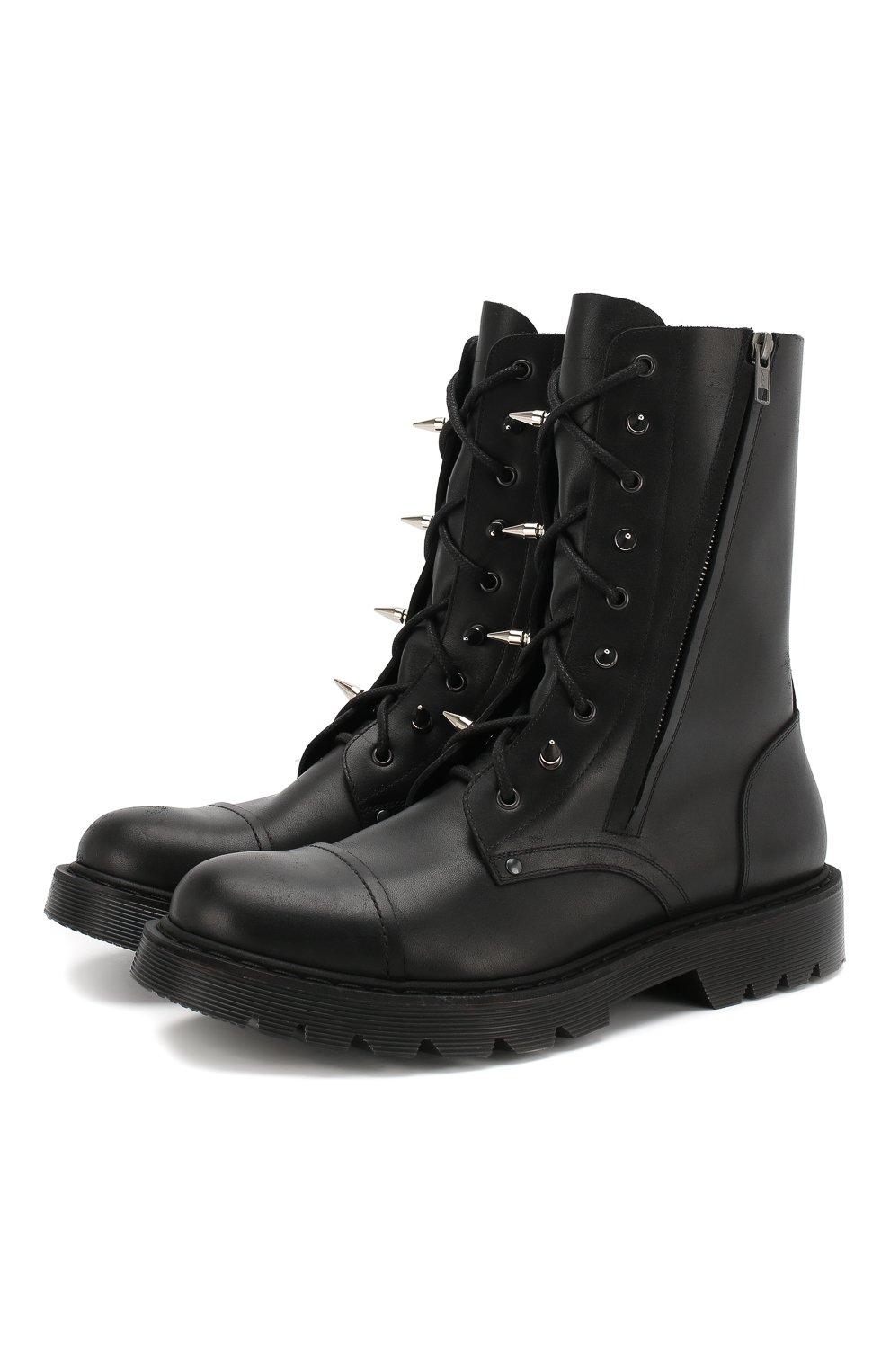 6e7684f78 Мужские черные кожаные ботинки VETEMENTS — купить за 94600 руб. в ...