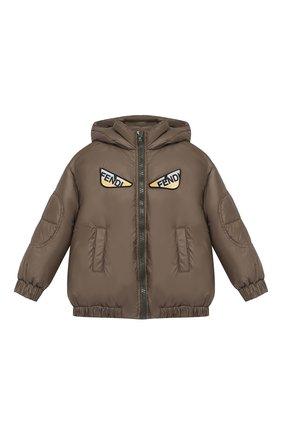 Детский пуховая куртка с капюшоном FENDI хаки цвета, арт. JMA122/A4RT/10A-12A | Фото 1