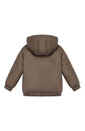 Детский пуховая куртка с капюшоном FENDI хаки цвета, арт. JMA122/A4RT/10A-12A | Фото 2