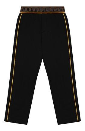 Детские хлопковые брюки FENDI черного цвета, арт. JMF170/5V0/6A-8A | Фото 1