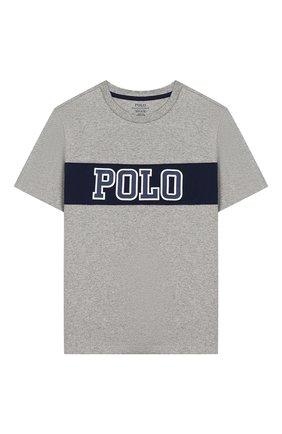 Детская хлопковая футболка POLO RALPH LAUREN серого цвета, арт. 323737839   Фото 1