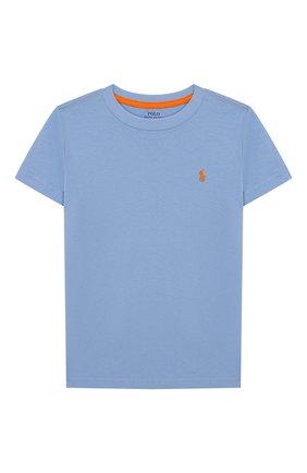 Детская хлопковая футболка POLO RALPH LAUREN голубого цвета, арт. 322703638 | Фото 1