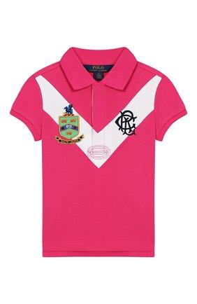 Детское хлопковое поло POLO RALPH LAUREN розового цвета, арт. 311735808 | Фото 1