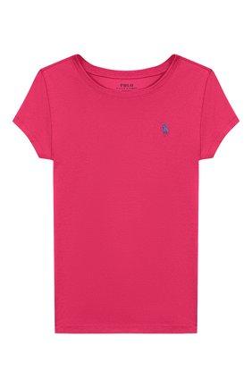 Детская хлопковая футболка POLO RALPH LAUREN розового цвета, арт. 311698703 | Фото 1
