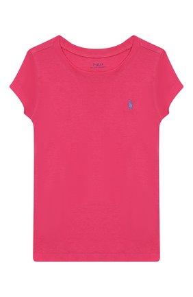 Детская хлопковая футболка POLO RALPH LAUREN розового цвета, арт. 313698703 | Фото 1