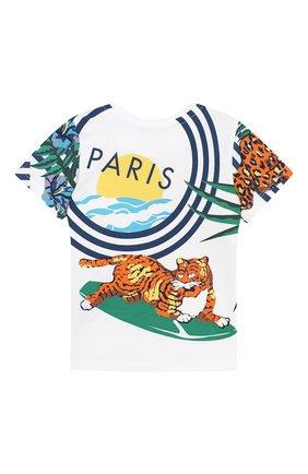 Детский хлопковая футболка KENZO белого цвета, арт. KN10608-BB/6M-18M | Фото 2