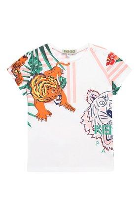 Детский хлопковая футболка KENZO разноцветного цвета, арт. KN10078-BB/6M-18M | Фото 1
