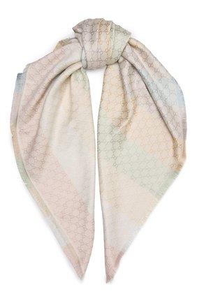 Женский платок из смеси шерсти и шелка GUCCI кремвого цвета, арт. 558274/3GC46 | Фото 1 (Материал: Текстиль, Вискоза)