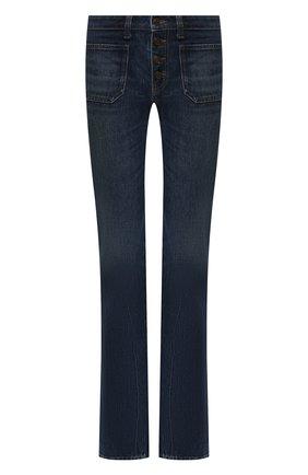 Женские расклешенные джинсы SAINT LAURENT темно-синего цвета, арт. 545666/YA970 | Фото 1