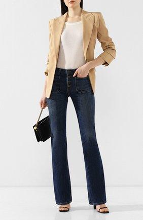 Женские расклешенные джинсы SAINT LAURENT темно-синего цвета, арт. 545666/YA970 | Фото 2