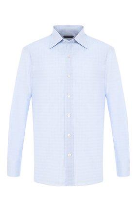 Мужская хлопковая сорочка с воротником кент TOM FORD голубого цвета, арт. 5FT848/94C1JE | Фото 1