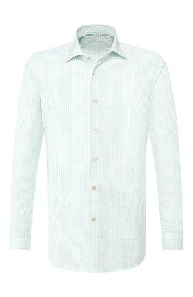 Мужская хлопковая рубашка с воротником кент KITON салатового цвета, арт. UCIH0692610 | Фото 1