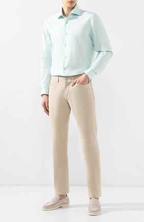 Мужская хлопковая рубашка с воротником кент KITON салатового цвета, арт. UCIH0692610 | Фото 2