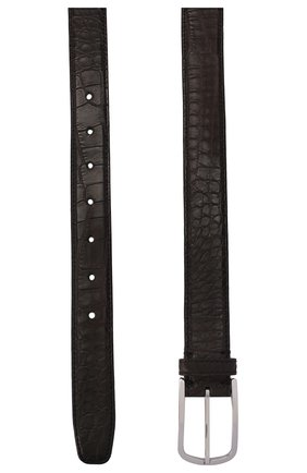 Мужской ремень из кожи аллигатора BRUNELLO CUCINELLI темно-коричневого цвета, арт. MAUAL320/AMIS | Фото 2