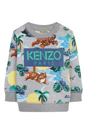 Детский хлопковый свитшот KENZO серого цвета, арт. KN15588-BB/6M-18M | Фото 1