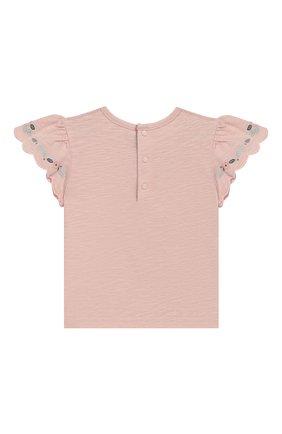Детский хлопковая футболка TARTINE ET CHOCOLAT светло-розового цвета, арт. TN10021/6M-18M | Фото 2 (Материал внешний: Хлопок; Рукава: Короткие; Статус проверки: Проверено; Ростовка одежда: 18 мес | 86 см, 6 мес | 68 см)