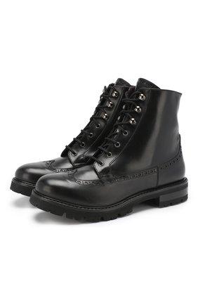 Кожаные ботинки с брогированием | Фото №1