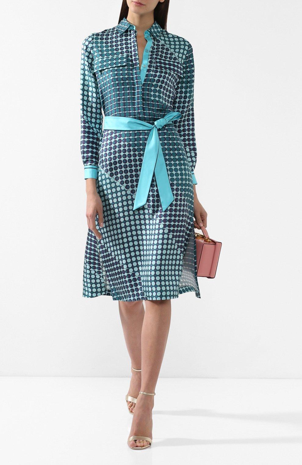 Шелковое платье Loro Piana бирюзовое | Фото №2